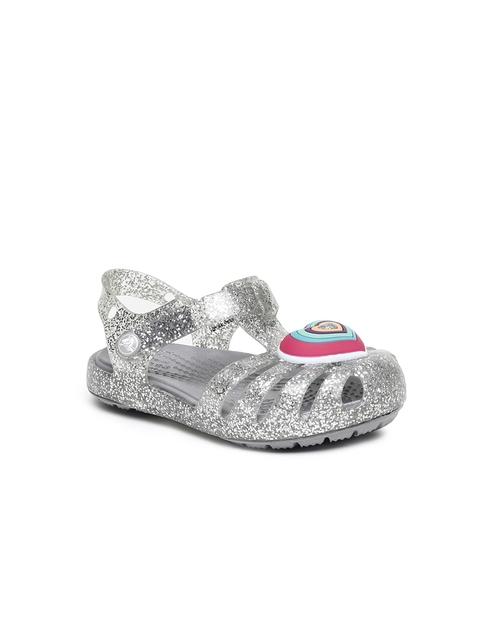 Crocs Girls Silver-Toned Embellished Clogs