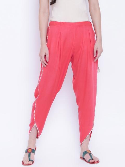 9rasa Women Coral Slim Fit Dhoti Pants