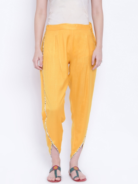 9rasa Women Yellow Dhoti Pants