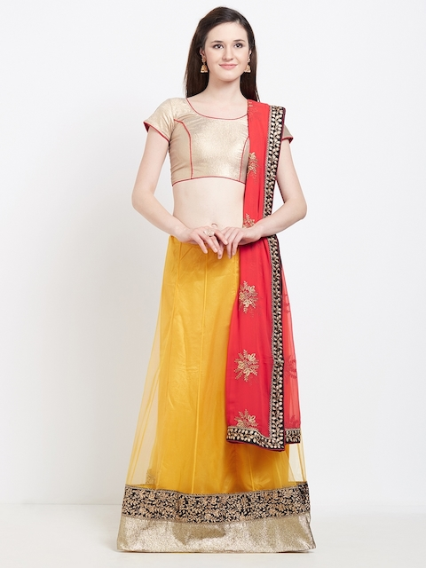 Viva N Diva Yellow & Gold-Toned Solid Semi-Stitched Lehenga & Unstitched Blouse with Dupatta