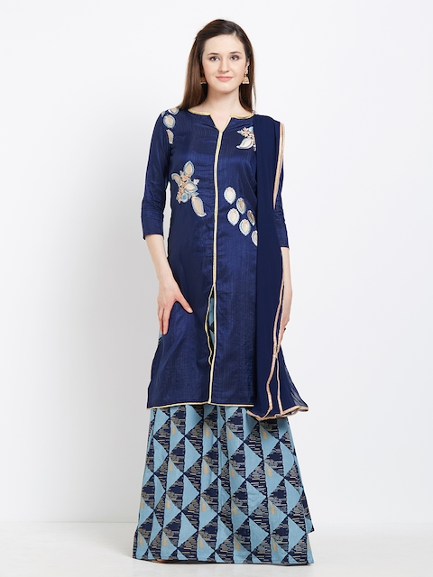 Viva N Diva Navy Blue Semi-Stitched Lehenga & Blouse with Dupatta