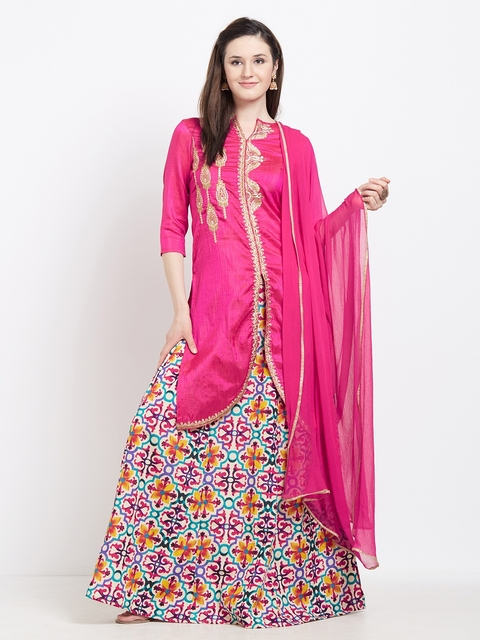 Viva N Diva Pink Semi-Stitched Lehenga & Blouse with Dupatta