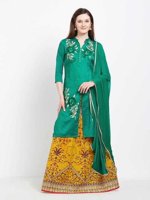 Viva N Diva Green Semi-Stitched Lehenga & Blouse with Dupatta