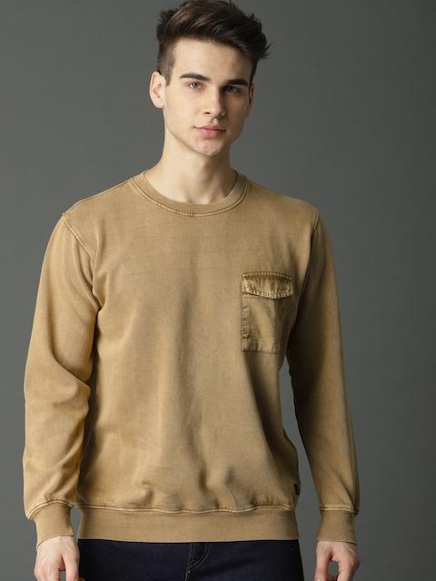 Roadster Men Beige Solid Sweatshirt