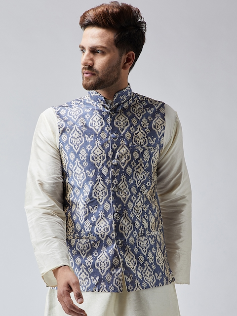 SOJANYA Men Blue & Off-White Printed Nehru Jacket