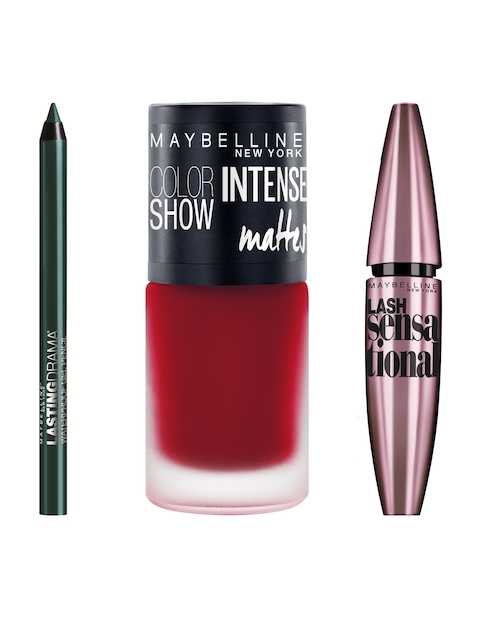 Maybelline Set of 3 Nail Paint, Mascara & Gel Pencil