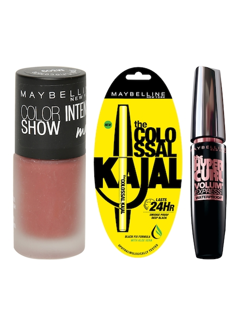 Maybelline Set of 3 Mascara, Kajal & Nail Polish