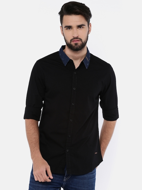 SPYKAR Men Black Slim Fit Solid Casual Shirt