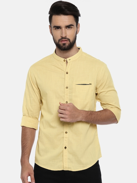 SPYKAR Men Beige Slim Fit Solid Casual Shirt