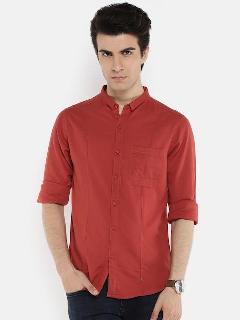 SPYKAR Men Red Slim Fit Solid Casual Shirt