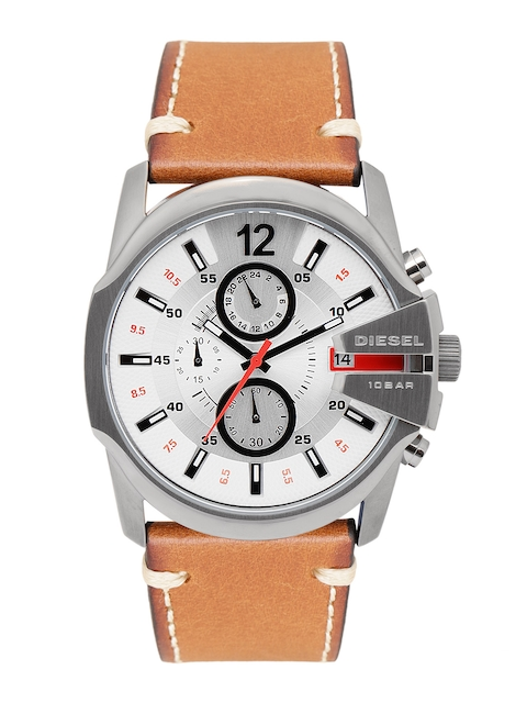 DIESEL Men Silver-Toned & White Chronograph Watch DZ4436_OR