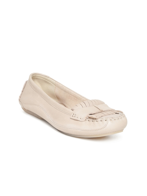 Clarks Women Cream-Coloured Loafers