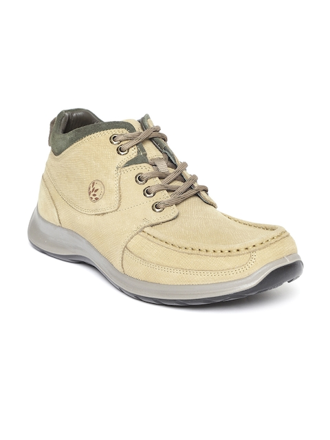 Woodland Men Beige Nubuck Leather Mid-Top Flat Boots
