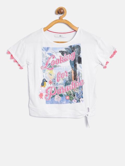 Marks & Spencer Girls White Printed Top