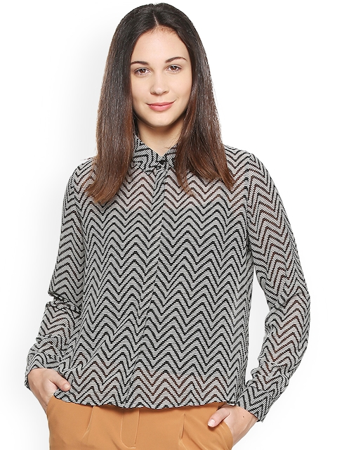 Van Heusen Woman Black Regular Fit Printed Casual Shirt