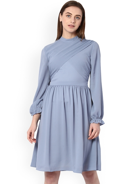 Van Heusen Woman Blue Solid Fit and Flare Dress