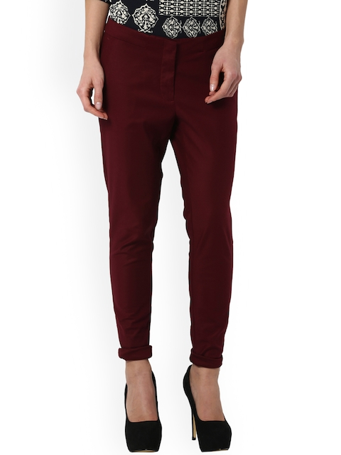 Van Heusen Woman Women Maroon Regular Fit Solid Chinos