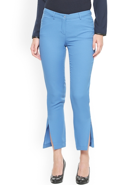 Van Heusen Woman Women Blue Regular Fit Solid Chinos