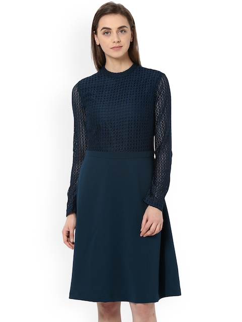 Van Heusen Woman Blue Self Design Fit and Flare Dress