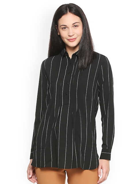 Van Heusen Woman Women Black Regular Fit Striped Casual Shirt