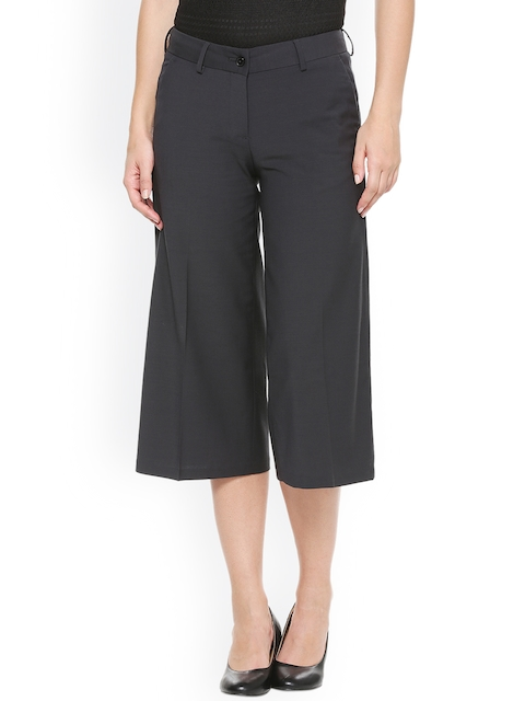 Van Heusen Woman Women Charcoal Regular Fit Solid Culottes