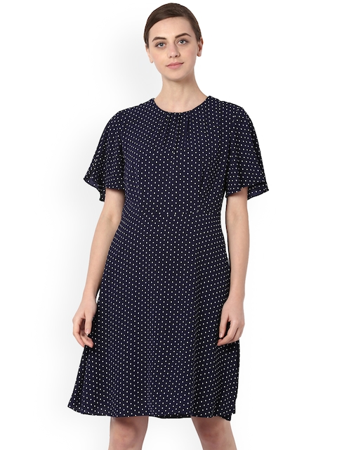 Van Heusen Woman Women Navy Blue Printed A-Line Dress
