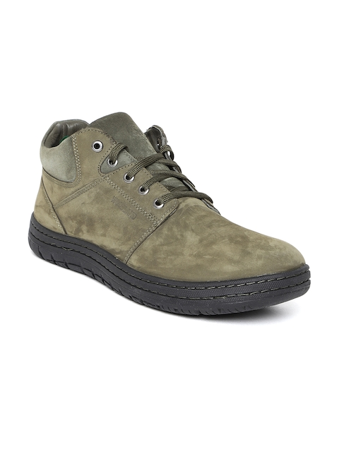Woodland Men Olive Green Nubuck Leather Flat Boots