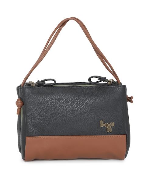 Baggit Black & Brown Colourblocked Handheld Bag