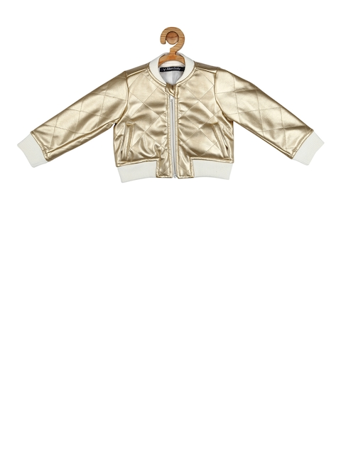 Allen Solly Junior Girls Gold-Toned Solid Bomber Jacket