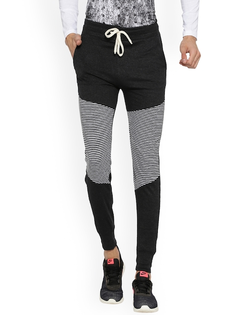 Campus Sutra Men Charcoal Grey & White Striped Joggers