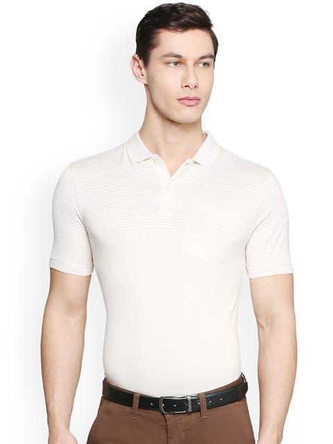 Van Heusen Men Beige Striped Polo Collar T-shirt