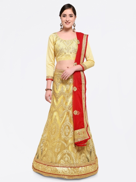 MANVAA Beige & Red Embroidered Semi-Stitched Lehenga & Unstitched Blouse with Dupatta