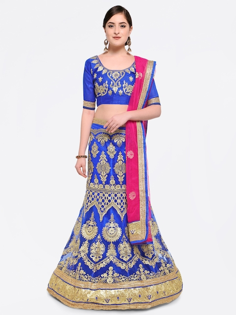 MANVAA Blue & Pink Embroidered Semi-Stitched Lehenga & Unstitched Blouse with Dupatta