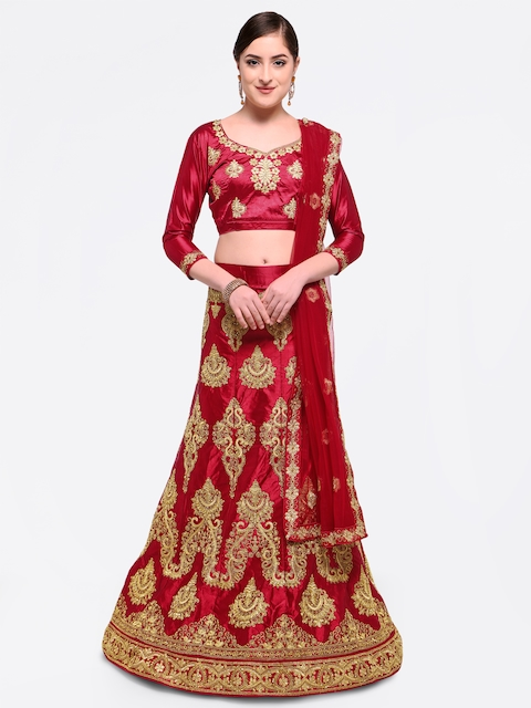 MANVAA Maroon Embroidered Semi-Stitched Lehenga & Unstitched Blouse with Dupatta