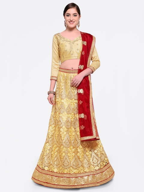 MANVAA Beige & Maroon Embroidered Semi-Stitched Lehenga & Unstitched Blouse with Dupatta