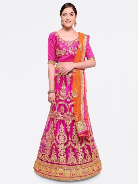 MANVAA Pink & Orange Embroidered Semi-Stitched Lehenga & Unstitched Blouse with Dupatta