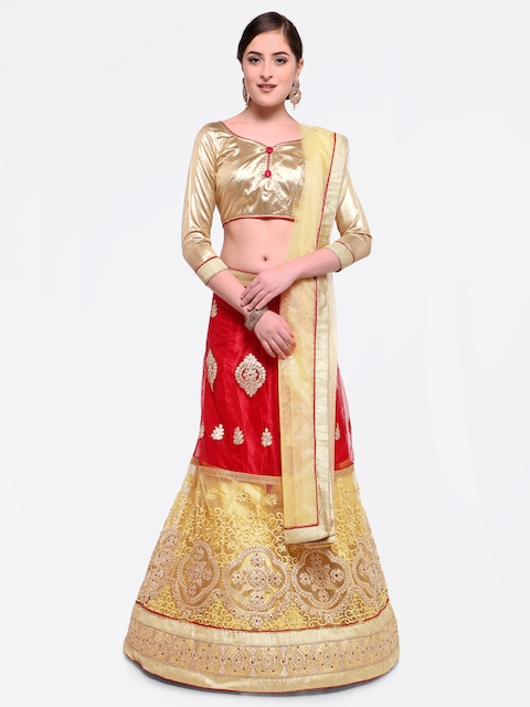MANVAA Gold-Toned & Red Embroidered Semi-Stitched Lehenga & Unstitched Blouse with Dupatta