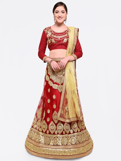 MANVAA Maroon & Beige Embroidered Semi-Stitched Lehenga & Unstitched Blouse with Dupatta