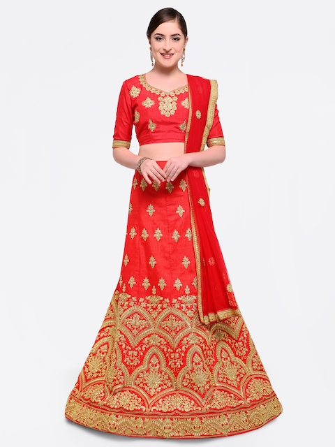 MANVAA Red Embroidered Semi-Stitched Lehenga & Blouse with Dupatta