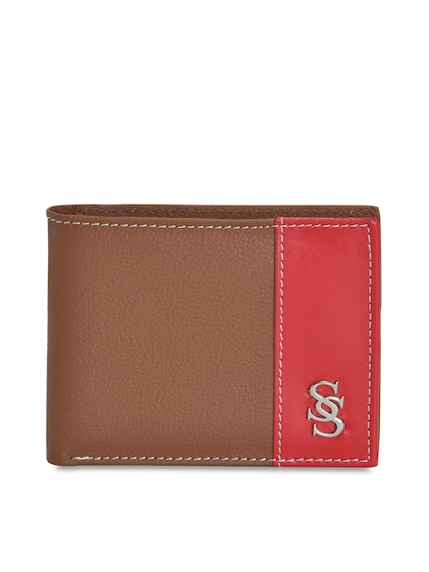 Second SKIN Men Tan Brown & Red Colourblocked Genuine Leather Two Fold Wallet