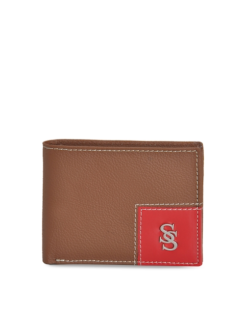 Second SKIN Men Tan Brown & Red Genuine Leather Solid Two Fold Wallet