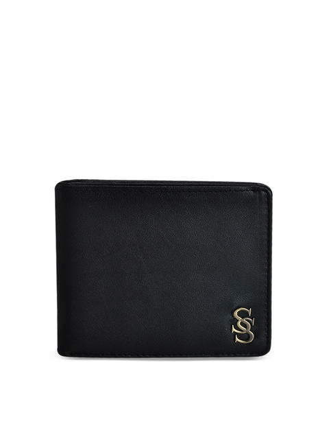 Second SKIN Men Black Genuine Leather Solid Two Fold Wallet