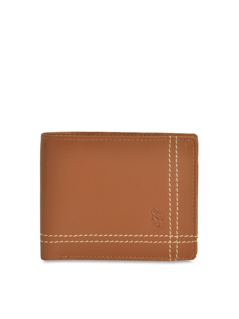 Second SKIN Men Tan Brown Solid Genuine Leather Two Fold Wallet