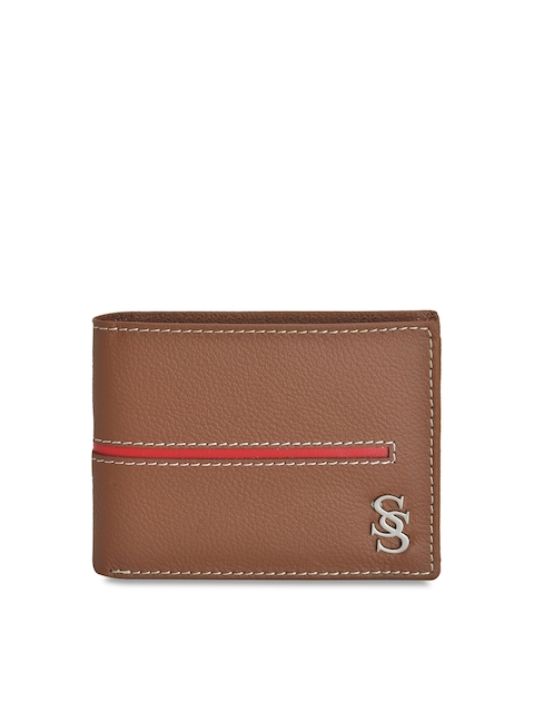 Second SKIN Men Tan Brown Solid Geniune Leather Two Fold Wallet