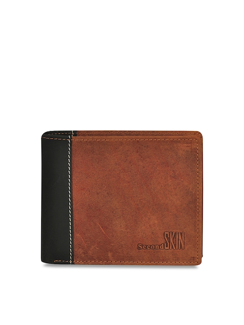 Second SKIN Men Tan Brown Colourblocked Genuine Leather Two Fold Wallet