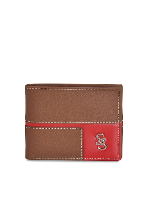 Second SKIN Men Tan Brown & Red Genuine Leather Colourblocked Two Fold Wallet