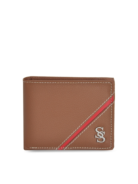 Second SKIN Men Tan Brown Genuine Leather Solid Two Fold Wallet