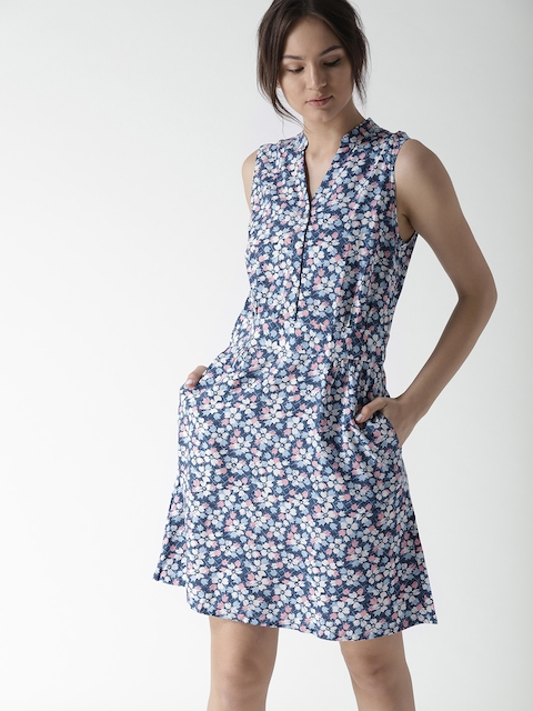 Tommy Hilfiger Women Blue Printed Fit and Flare Dress