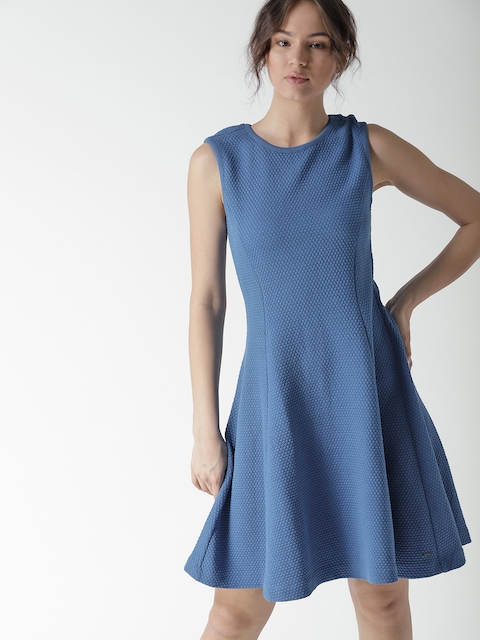 Tommy Hilfiger Women Blue Self Design Fit and Flare Dress