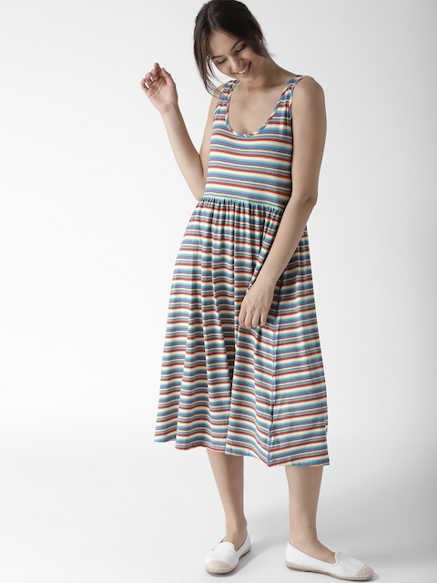 Tommy Hilfiger Women Multicoloured Striped Fit and Flare Dress